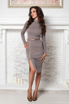 Трикотажное платье чулок с разрезом на молнии Angela Ricci