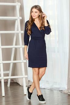 Темно-синее платье с рукавами 3/4 и вшитым поясом Mondigo