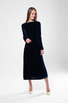 Темно синее бархатное платье Marimay