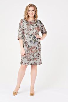 Серое трикотажное платье с цветами Carlo Bottichelli
