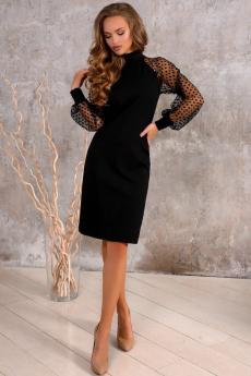 Новинка: черное платье с рукавами в сетку Open-Style